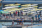Plovdiv, Bulgaria, Friday, 14th September 2018. FISA, World Rowing Championships,  Men's Eights Repechage, Romanian crew, congratulate each other after qualifying for Sundays Men's eights final, © Peter SPURRIER,