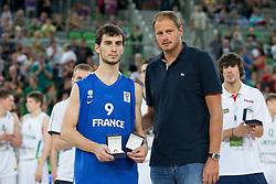 MVP of the championship Leo Westermann of France and Raso Nesterovic during ceremony after Lithuania won and become European Champions U-20 after basketball match between National teams of Lithuania and France in Final match of U20 Men European Championship Slovenia 2012, on July 22, 2012 in SRC Stozice, Ljubljana, Slovenia. Lithuania defeated France 50:49. (Photo by Matic Klansek Velej / Sportida.com)