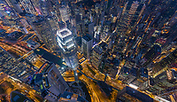 Aerial view above Hong Kong downtown during the night.