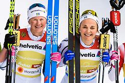 February 24, 2019 - Seefeld In Tirol, AUSTRIA - 190224 Maja Dahlqvist and Stina Nilsson of Sweden celebrates after womenÃ•s team sprint final during the FIS Nordic World Ski Championships on February 24, 2019 in Seefeld in Tirol..Photo: Vegard Wivestad GrÂ¿tt / BILDBYRN / kod VG / 170295 (Credit Image: © Vegard Wivestad Gr¯Tt/Bildbyran via ZUMA Press)