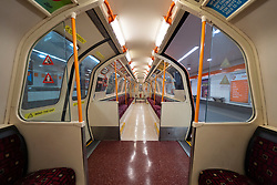 Glasgow, Scotland, UK. 1 April, 2020. Effects of Coronavirus lockdown on Glasgow life, Scotland.  Interior of empty carriage on Glasgow Subway.