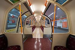 Glasgow, Scotland, UK. 1 April, 2020. Effects of Coronavirus lockdown on Glasgow life, Scotland.  Interior of empty carriage on Glasgow Subway.
