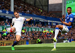 Branislav Ivanovic of Chelsea crosses the ball past Everton's Brendan Galloway   - Mandatory byline: Matt McNulty/JMP - 07966386802 - 12/09/2015 - FOOTBALL - Goodison Park -Everton,England - Everton v Chelsea - Barclays Premier League