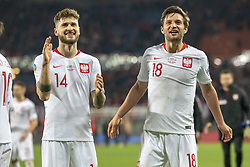 March 21, 2019 - Vienna, Austria - Mateusz Klich and Bartosz Bereszynski of Poland thanks their fans during the UEFA European Qualifiers 2020 match between Austria and Poland at Ernst Happel Stadium in Vienna, Austria on March 21, 2019  (Credit Image: © Andrew Surma/NurPhoto via ZUMA Press)