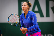 Madison Keys of the United States in action against Shuai Zhang of China during the first round at the Roland Garros 2020, Grand Slam tennis tournament, on September 28, 2020 at Roland Garros stadium in Paris, France - Photo Rob Prange / Spain ProSportsImages / DPPI / ProSportsImages / DPPI