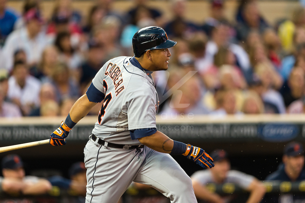 Miguel Cabrera (24) of the Detroit Tigers bats during a game against the Minnesota Twins on August 14, 2012 at Target Field in Minneapolis, Minnesota.  The Tigers defeated the Twins 8 to 4.  Photo: Ben Krause