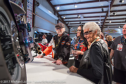 Nancy and Willie G Davidson with custom builder Nikki Martin at the Old Iron - Young Blood exhibition media and industry reception in the Motorcycles as Art gallery at the Buffalo Chip during the annual Sturgis Black Hills Motorcycle Rally. Sturgis, SD. USA. Sunday August 6, 2017. Photography ©2017 Michael Lichter.