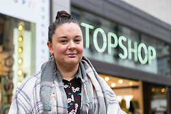 Kat Diggins-Barns, 35,  a pet business owner from Camberley in Surrey outside Topshop at Oxford Circus in London. London, October 26 2018.