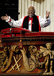 Archbishop Desmond Tutu at St. Pauls Cathedral during a service of thanksgiving to celebrate the tenth anniversary of democracy in South Africa. The veteran anti-apartheid campaigner, during an interview on BBC 1's Breakfast with Frost programme, had earlier urged England's cricketers not to tour Zimbabwe.