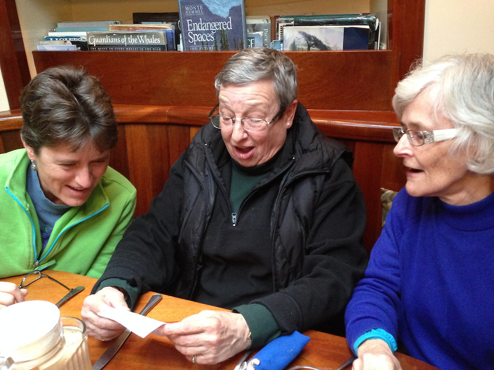 Toni, Terry and Jocelyn Sing in the Galley, SV Maple Leaf, Gulf Islands, British Columbia, Canada