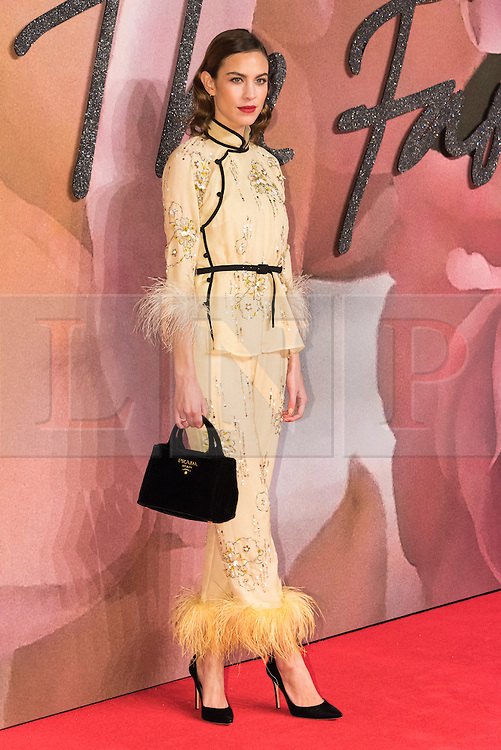 © Licensed to London News Pictures. 05/12/2016. ALEXA CHUNG arrives for The Fashion Awards 2016 celebrating the best of British and international fashion. London, UK. Photo credit: Ray Tang/LNP