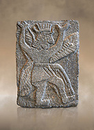 Hittite relief sculpted orthostat panel od a god from Tell Halaf, ancient Guzana, Syria, iX cent BC, Louvre Museum. Cat No AO 11073