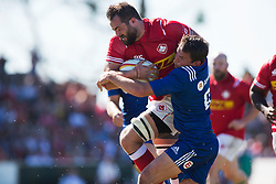 June 16, 2018 - Ottawa, ON, U.S. - OTTAWA, ON - JUNE 16: Luke Campbell of Canada ploughs through Anton Rudoi of Russia in the Canada versus Russia international Rugby Union action on June 16, 2018, at Twin Elms Rugby Park in Ottawa, Canada. Russia won the game 43-20. (Photo by Sean Burges/Icon Sportswire) (Credit Image: © Sean Burges/Icon SMI via ZUMA Press)