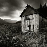 Rusted bicycle and shed,, Glen Etive