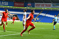 Football - 2020 / 2021 UEFA Nations League - Group B4 - Wales vs Bulgaria<br />      <br /> Neco Williams of Wales celebrates scoring his team's first goal<br /> in a match played with no crowd due to Covid 19 coronavirus emergency regulations, in an almost empty ground, at the Cardiff City Stadium.<br /> <br /> COLORSPORT/WINSTON BYNORTH