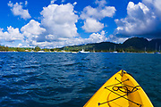 Kayaking on Hanalei Bay, Island of Kauai, Hawaii USA