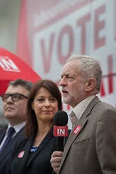 © Licensed to London News Pictures. 10/05/2016. London, UK. Labour party leader Jeremy Corbyn (R) stands next to Gloria De Piero, Shadow Minister for Young People and deputy party leader Tom Watson as they launch the 'Labour In for Britain' campaign and a new EU referendum campaign bus. Photo credit: Peter Macdiarmid/LNP