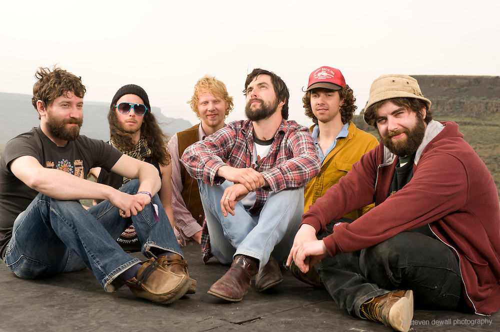 George, WA. - May 29th, 2011 the Moondoggies pose for a portrait backstage at the Sasquatch Music Festival in George, WA. United States