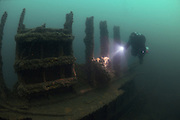 Diver explores the wreck of the steamship SS Molina, which was sunk in WW1 off the south coast of England