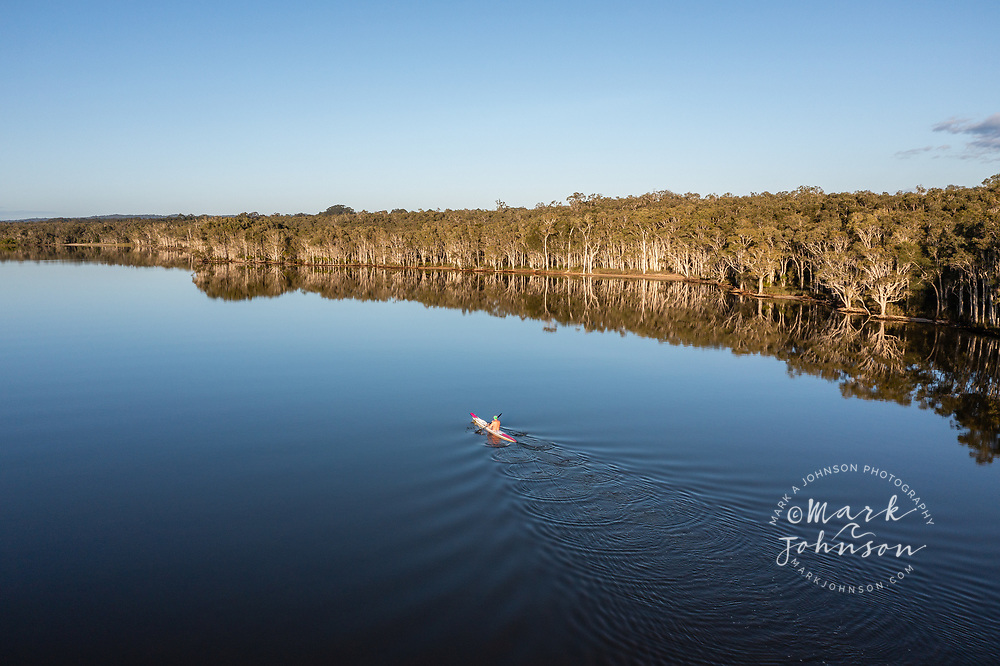 Aerial view of a kayaker in Lake Cootharaba, Boreen Point, Sunshine Coast, Queensland, Australia