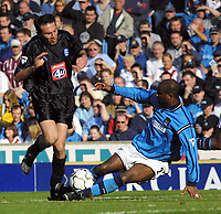 Photo. Chris Ratcliffe<br />Man City v Birmingham. FA Premiership. 16/03/2003<br />David Sommeil challenges Stan Laziridis for the ball during Man City's 1-0 win at Maine Road
