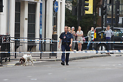 © Licensed to London News Pictures.  16/08/2012. LONDON, UK. Police sniffer dogs search Orchard Street (off Oxford Street) following a controlled explosion of a suspect package. Photo credit :  Cliff Hide/LNP