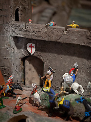 © Licensed to London News Pictures. 21/11/2012. London, UK. Toy cowboys are seen defending a castle under attack by Indians in Peter Blake's 'Fort: Siege' (2012) at an exhibition in London today (21/11/12). Held at the Waddington Custot Galleries on Cork Street, London, the exhibition, entitled 'Rock, Paper, Scissors', represents the first major retrospective devoted to Blake's work since 2007 and runs from 21November to 15 December 2012 . Photo credit: Matt Cetti-Roberts/LNP