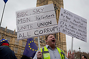 On the day that the UK Parliament once again votes on an amendment of Prime Minister Theresa Mays Brexit deal that requires another negotiation with the EU in Brussels, far-right pro-Remain protesters gather outside the House of Commons, on 29th January 2019, in Westminster, London, England.