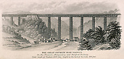 'Crumlin viaduct on the Newport-Hereford Railway, a typical mid-19th century iron truss structure. Engineer: Thomas Kennard. Engraving, 1862.'