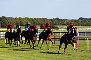 Sufie ridden by Pat Dobbs trained by Milton Harris, Cotton Club ridden by David Probert trained by George Boughey, Borak ridden by Charlie Price trained by Bernard Llewellyn, Arty Campbell ridden by Joshua Bryan trained by Bernard Llewellyn, Baladio ridden by Megan Nicholls trained by John Mackie, Agent Gibbs ridden by Rossa Ryan trained by John O'Shea, Hidden Depths ridden by Liam Keniry trained by Neil Mulholland in the Attheraces.com Handicap - Mandatory by-line: Robbie Stephenson/JMP - 22/07/2020 - HORSE RACING - Bath Racecoure - Bath, England - Bath Races