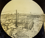 Magic lantern slide of quarrying possibly limestone in Dorset, England, UK circa 1900
