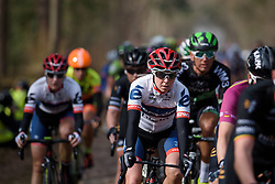 Stephanie Pohl over the cobbles at Ronde van Drenthe 2017. A 152 km road race on March 11th 2017, starting and finishing in Hoogeveen, Netherlands. (Photo by Sean Robinson/Velofocus)