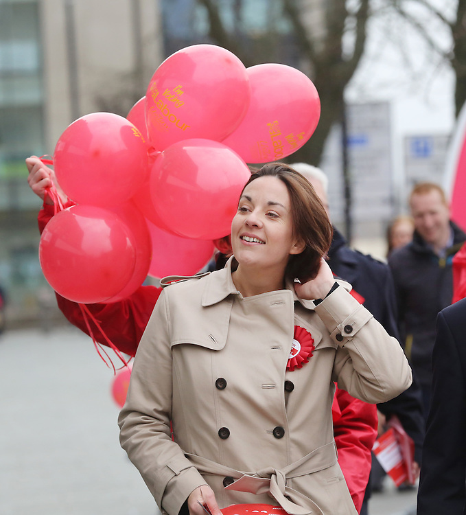 Scottish Labour leader marks first full day of Scottish Parliament election campaign. Kezia Dugdale to join Rutherglen candidate James Kelly and party supporters for a street stall and walkabout in Rutherglen, Glasgow. Picture Robert Perry 24th March 2016<br /> <br /> Must credit photo to Robert Perry<br /> FEE PAYABLE FOR REPRO USE<br /> FEE PAYABLE FOR ALL INTERNET USE<br /> www.robertperry.co.uk<br /> NB -This image is not to be distributed without the prior consent of the copyright holder.<br /> in using this image you agree to abide by terms and conditions as stated in this caption.<br /> All monies payable to Robert Perry<br /> <br /> (PLEASE DO NOT REMOVE THIS CAPTION)<br /> This image is intended for Editorial use (e.g. news). Any commercial or promotional use requires additional clearance. <br /> Copyright 2014 All rights protected.<br /> first use only<br /> contact details<br /> Robert Perry     <br /> 07702 631 477<br /> robertperryphotos@gmail.com<br /> no internet usage without prior consent.         <br /> Robert Perry reserves the right to pursue unauthorised use of this image . If you violate my intellectual property you may be liable for  damages, loss of income, and profits you derive from the use of this image.