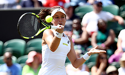 Johanna Konta in action on day two of the Wimbledon Championships at the All England Lawn Tennis and Croquet Club, Wimbledon.