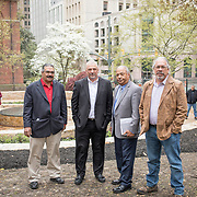From left, Frank Adams, Chief Upper Mattaponi, Dean Branham, Chief Monacan Nation, Steve Atkins, Chief Chickahominy and Robert Gray, Chief Pamunkey, following the dedication ceremony for Mantle: Virginia Indian Tribute, a monument designed on Virginia State Capitol Square, in Richmond, Virginia, on Tuesday, April 17, 2018. John Boal Photography