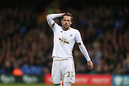 Gylfi Sigurdsson of Swansea City looks disappointed after Goalkeeper Wayne Hennessey of Crystal Palace prevented the midfielder from scoring from a free kick. Barclays Premier League match, Crystal Palace v Swansea city at Selhurst Park in London on Monday 28th December 2015.<br /> pic by John Patrick Fletcher, Andrew Orchard sports photography.