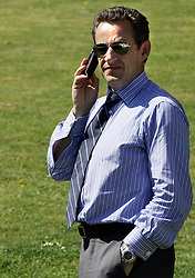 File photo - UMP leader and presidential candidate Nicolas Sarkozy talks on his cell-phone during his visit in the General de Gaulle village in Colombey les-deux-eglises, east of France on April 16, 2007. Pool photo by Thomas Coex/ABACAPRESS.COM