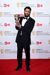 Adeel Aktar with the award for Best Actor in the press room at the Virgin TV British Academy Television Awards 2017 held at Festival Hall at Southbank Centre, London. PRESS ASSOCIATION Photo. Picture date: Sunday May 14, 2017. See PA story SHOWBIZ Bafta. Photo credit should read: Ian West/PA Wire