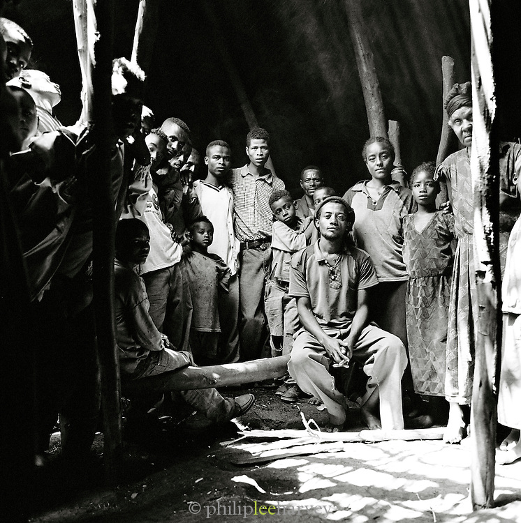 Group portrait of Hamer village people, Turmi, Lower Omo Valley, Ethiopia