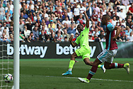 Daniel Sturridge of Liverpool scores his teams first goal. Premier league match, West Ham Utd v Liverpool at the London Stadium, Queen Elizabeth Olympic Park in London on Sunday 14th May 2017.<br /> pic by Steffan Bowen, Andrew Orchard sports photography.
