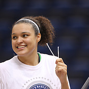 Kayla McBride, Notre Dame, cuts the basketball net after the Connecticut V Notre Dame Final match won by Notre Dame 61-59 during the Big East Conference, 2013 Women's Basketball Championships at the XL Center, Hartford, Connecticut, USA. 11th March. Photo Tim Clayton