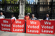 Pro Brexit protesters with We Voted Leave messages to leave the EU in Westminster on the day after Parliament voted to take control of Parliamentary proceedings and prior to a vote on a bill to prevent the UK leaving the EU without a deal at the end of October, on 4th September 2019 in London, England, United Kingdom. Yesterday Prime Minister Boris Johnson faced a showdown after he threatened rebel Conservative MPs who vote against him with deselection, and vowed to aim for a snap general election if MPs succeed in a bid to take control of parliamentary proceedings to allow them to discuss legislation to block a no-deal Brexit.