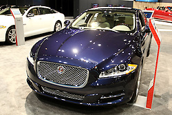 12 February 2015:  2015 JAGUAR XJ - Range 4Dr.: Jaguar describes the 2015 Jaguar XJ as its flagship sedan that is passion in motion, beauty, refinement, sheer exhilarating power and cat-like agility. For 2015, the Jaguar XJ is offered in two wheelbase lengths, three levels of supercharged performance, and available all-wheel drive. The exterior's streamlined roof over the premium luxury four-door body wears a sleek, coupe-like profile, and employs lightweight aluminum construction. For 2015, the XJ lineup includes: XJ, XJ AWD, XJL Portfolio, XJL Portfolio AWD, XJ Supercharged, XJL Supercharged, XJR and XJR Long Wheelbase. Depending on trim level, there are three engines offered, all nicely mated to eight-speed automatic transmissions. The 3.0 liter V-6 is supercharged and develops a healthy 340 horsepower. Then there are two versions of the 5.0L V-8: the supercharged 470 and 550 hp. The top speed is 155 mph and the XJ can accelerate from 0-to-60 mph in 4.7 seconds. Inside the six-occupant cabin, XJ offers a range of leather grains, a choice of premium wooden veneers and carbon-fiber finishes tailored to personal taste. Passengers have an exceptional view with a panoramic, heat-reflective glass roof that extends to the full width of the car and sweeps as far back as the rear seat area. A wide range of color and trim selections, accented by elegant switchgear and soft phosphor blue lighting, offers expansive interior personalization. Eleven different woods are available, depending on the model, with carbon fiber and piano black finishes among the choices. A variety of stunning 19- and 20-inch alloy wheels are on the option list, with wider wheels fitted at the rear of the car, optimizing grip and enhancing the car's sporting, athletic stance. The latest XJs smoothly transports 18.4 cu. ft. of luggage in the tailored trunk.<br /> <br /> First staged in 1901, the Chicago Auto Show is the largest auto show in North America and has been held more times than any other auto expositio