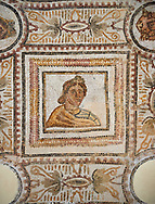 Picture of a Roman mosaics design depicting the Muses inside medallions, from the ancient Roman city of Thysdrus. 3rd century AD. El Djem Archaeological Museum, El Djem, Tunisia. .<br /> <br /> If you prefer to buy from our ALAMY PHOTO LIBRARY Collection visit : https://www.alamy.com/portfolio/paul-williams-funkystock/roman-mosaic.html . Type - El Djem - into the LOWER SEARCH WITHIN GALLERY box. Refine search by adding background colour, place, museum etc<br /> <br /> Visit our ROMAN MOSAIC PHOTO COLLECTIONS for more photos to download as wall art prints https://funkystock.photoshelter.com/gallery-collection/Roman-Mosaics-Art-Pictures-Images/C0000LcfNel7FpLI