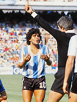 Diego Maradona (Arg) complains to the referee. Italy v Argentina. 1982 World Cup Finals. 29/06/1982 Credit : Colorsport / Andrew Cowie
