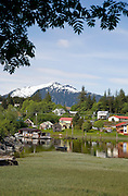 USA,Alaska,The town of Wrangell as seen from Chief Shakes Island.