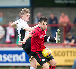 Inverness Caledonian Thistle's Coll Donaldson and Brechin City's Kalvin Orsi. Brechin City 0 v 4 Inverness Caledonian Thistle, Scottish Championship game played 26/8/2017 at Brechin City's home ground Glebe Park.