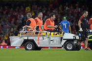 Leigh Halfpenny of Wales leaves the field injured. Wales v Italy, RWC warm up international match at the Millennium Stadium in Cardiff ,South Wales on Saturday 5th Sept  2015. pic by Andrew Orchard, Andrew Orchard sports photography.