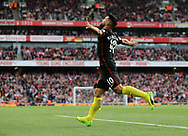 Manchester City's Sergio Aguero celebrates scoring his sides second goal during the Premier League match at the Emirates Stadium, London. Picture date: April 2nd, 2017. Pic credit should read: David Klein/Sportimage