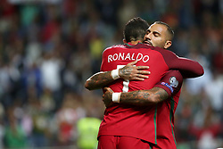 August 31, 2017 - Porto, Portugal - Portugal's forward Cristiano Ronaldo celebrates with Portugal's forward Ricardo Quaresma after scoring a goal during the 2018 FIFA World Cup qualifying football match between Portugal and Faroe Islands at the Bessa XXI stadium in Porto, Portugal on August 31, 2017. (Credit Image: © Pedro Fiuza/NurPhoto via ZUMA Press)